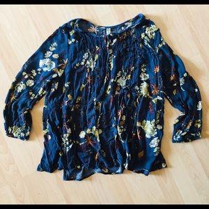 American Rag dark teal floral boho tunic top 2x